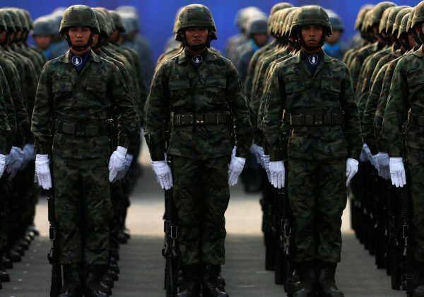 Soldiers stand during the annual Military Parade to celebrate the Coronation of King Rama X at the Royal Thai Army Cavalry Center in Saraburi province, Thailand 18 January, 2020 (Reuters/Soe Zeya Tun).
