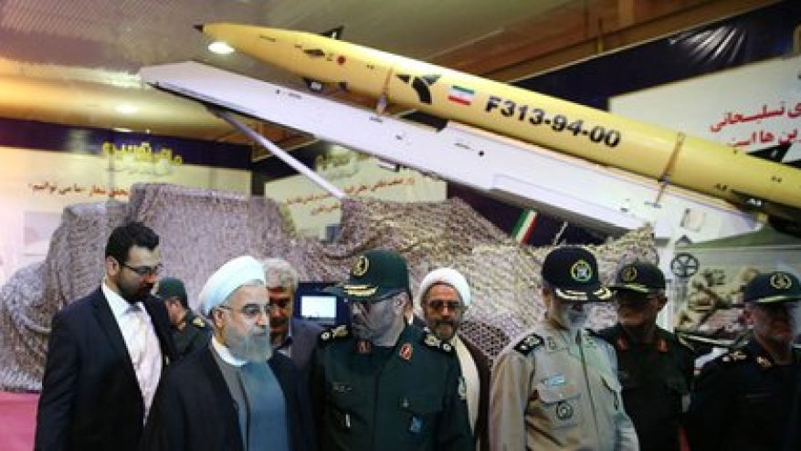 Hasan Rohani, during the exhibition of the Persian missiles (Archive)