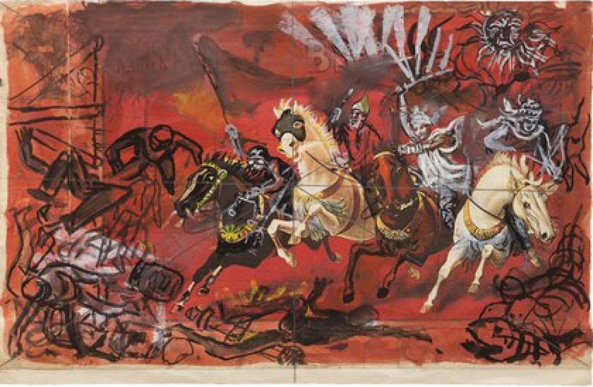 Antonio Berni, Sin título. De la serie Apocalipsis y Crucifixiones, 1980.(30.5 cm x 46 cm). La apocalíptica es un género literario que surge en la cultura hebrea y la iglesia primitiva