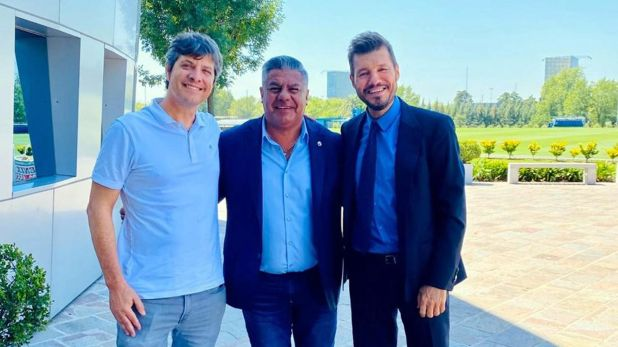 La foto de Claudio Tapia junto a Pergolini y Tinelli en el predio de la AFA en Ezeiza