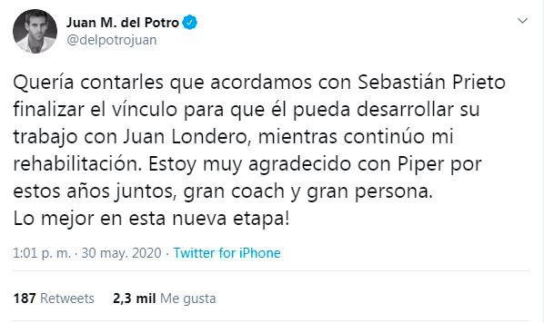 Captura tuit Del Potro Sebastian Prieto