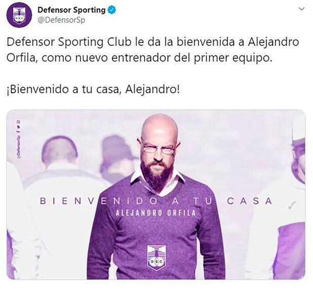 El anuncio de Defensor Sporting de Alejandro Orfila como nuevo entrenador
