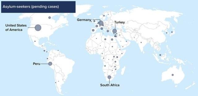 Mapa de los solicitantes de asilo en el mundo (Fuente: ACNUR)