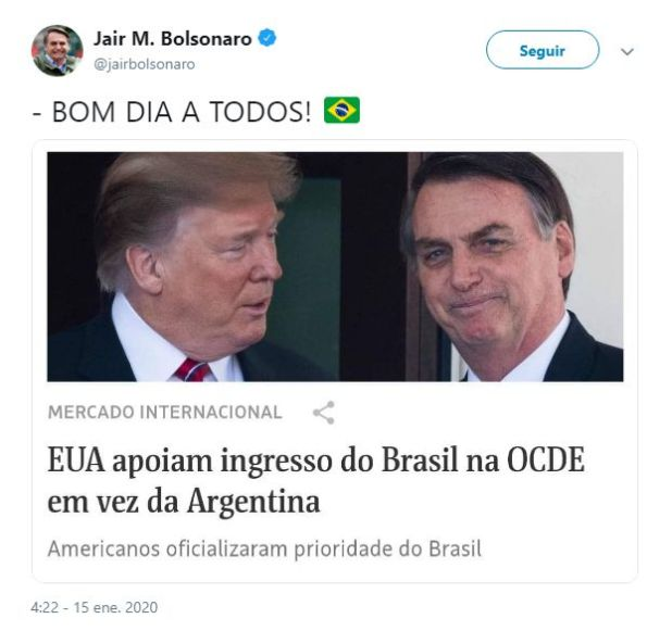 El tuit del presidente brasileño Jair Bolsonaro sobre los anuncios del gobierno de Estados Unidos.
