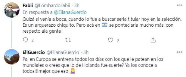la respuesta de Guercio a un usuario que criticó a Romero