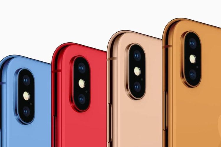 Un boceto que muestra cómo se verían los nuevos iPhones de colores. Concepto por 9to5Mac