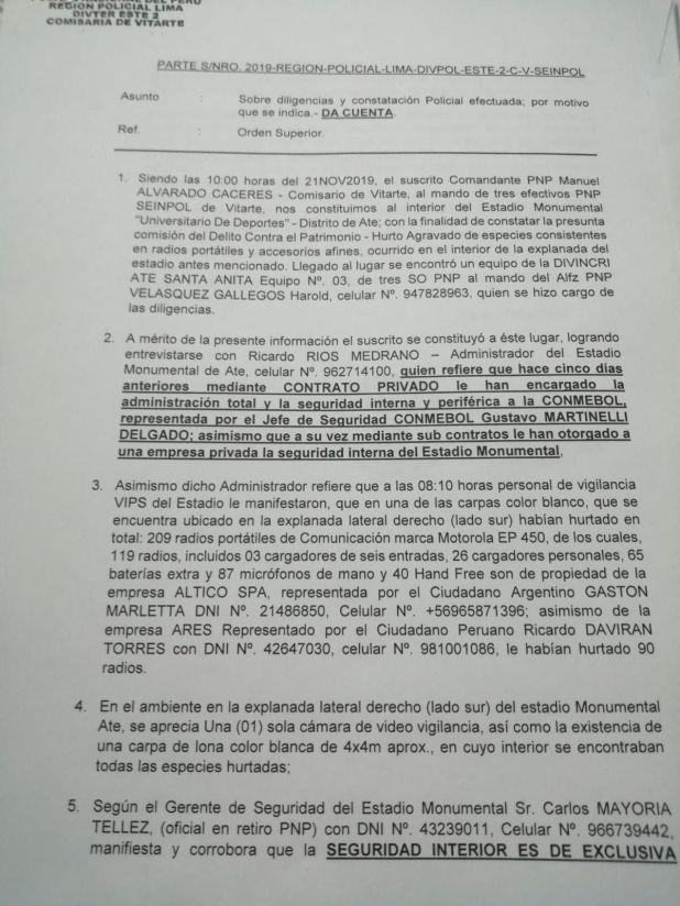 Primera página del acta de la denuncia por robo en el estadio Monumental, de Lima