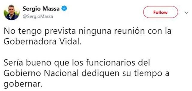 La desmentida que hizo Massa sobre el encuentro con la gobernadora bonaerense