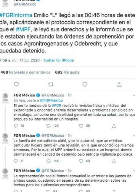 Así fue como la FGR informó sobre el estado de salud de Emilio Lozoya. (Foto: Captura de pantalla)
