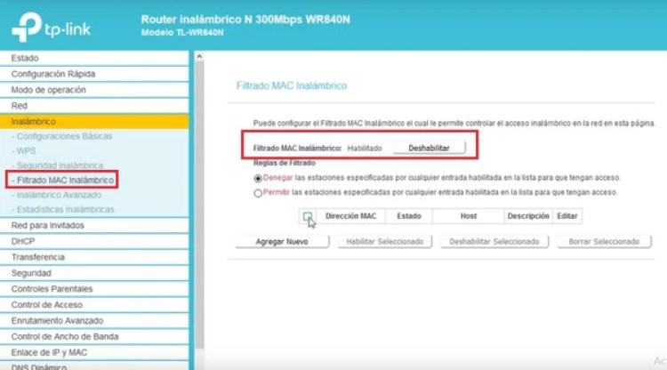 El filtrado por MAC permite establecer qué equipos pueden conectarse a la red