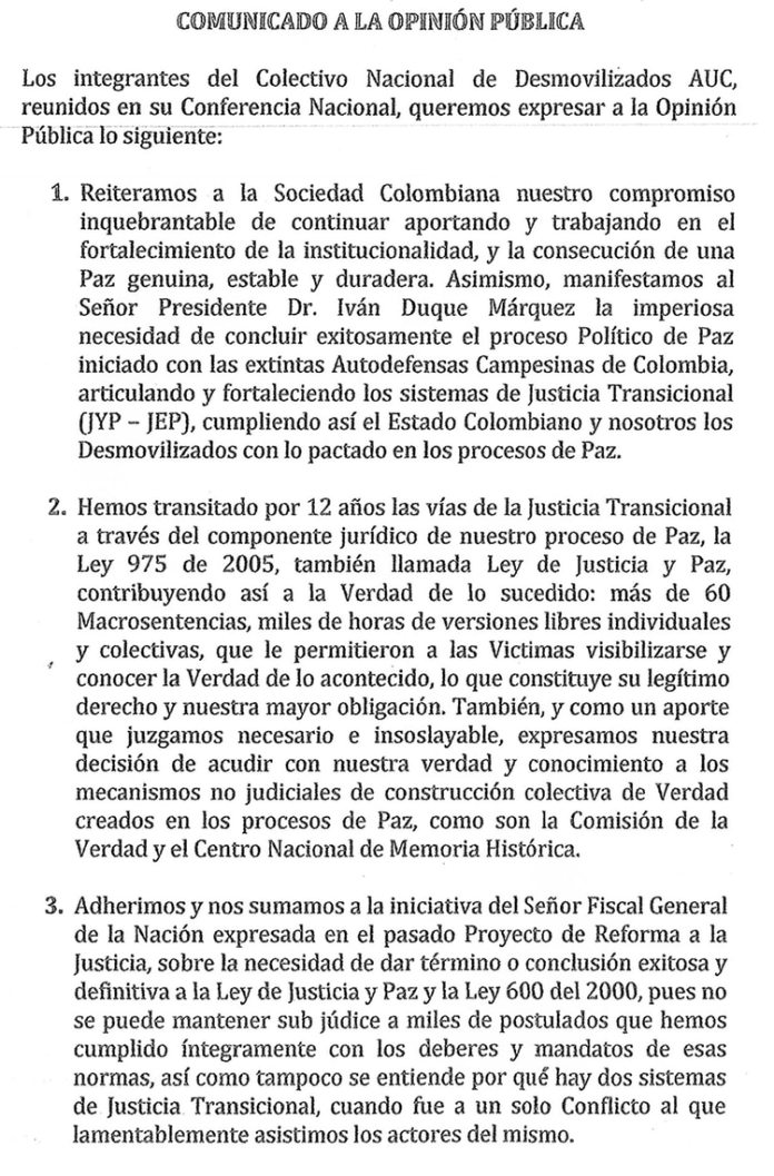 La carta que enviaron 17 exjefes paramilitares a la Comisión de la Verdad.