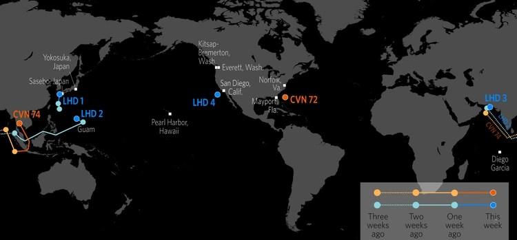 La última posición del USS Abraham Lincoln (CVN72), al 14 de febrero de 2019 (Stratfor)