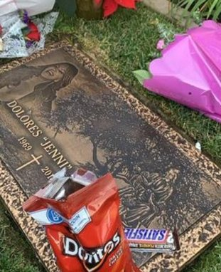 Doritos, Snickers and beer, her son's offering to Jenni (Photo: Screenshot)