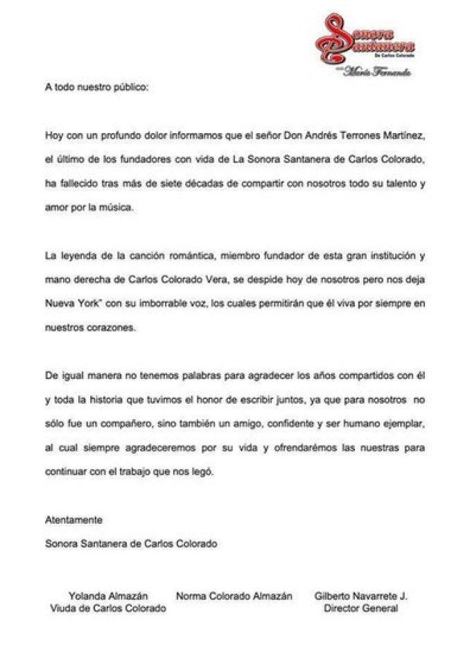 El comunicado donde La Sonora Santanera se despide de su fundador (Foto: Facebook)