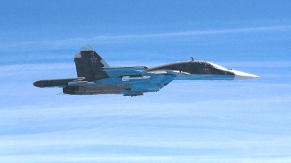 Un cazabombardero Su-34. Rusia mantiene ocho unidades de este tipo en Siria, además de cuatro Su-30 y cuatro Su-35, cazas de vanguardia