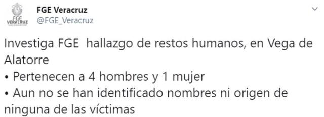 La Fiscalía General de Veracruz, indicó que ninguno de los cuerpos localizados se han identificado (Foto: Twitter/ FGE_Veracruz)