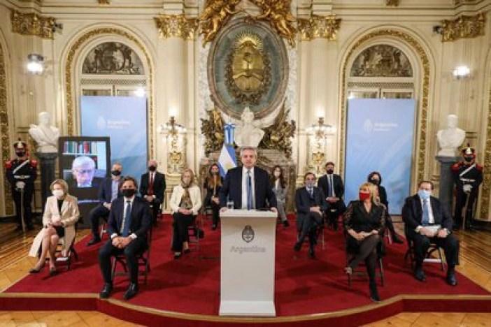Alberto Fernández durante la presentación de la reforma judicial, el pasado miércoles (Esteban Collazo/Presidencia argentina vía Reuters)