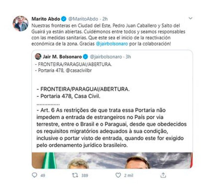 El tuit de Mario Abdo Benítez