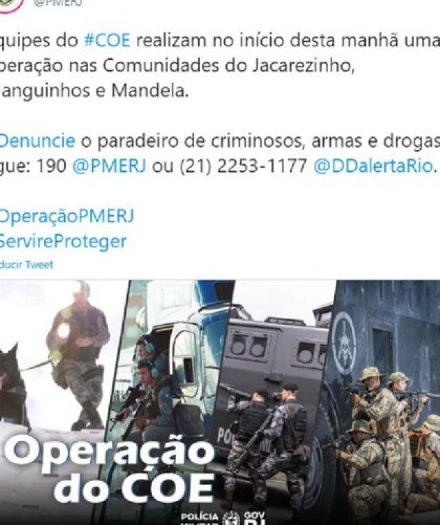 El anuncio del operativo en la cuenta de la Policía Militar