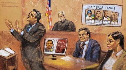 Ilustración del juicio a Guzmán en Nueva York (Foto: Reuters)