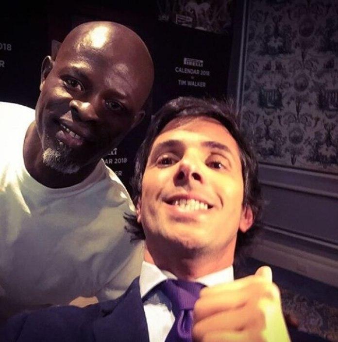 Front row VIP, en NYC: Robertito Funes Ugarte junto al actor benino- americano, Djimon Hounsou.