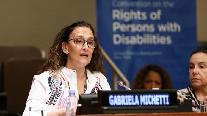 Michetti fue la primera oradora en el evento organizado por la ONU