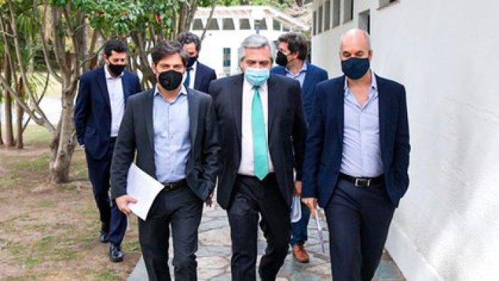 Axel Kicillof y Horacio Rodríguez Larreta le llevaron al Presidente sus respectivas propuestas para la nueva etapa de la cuarentena. (Presidencia)