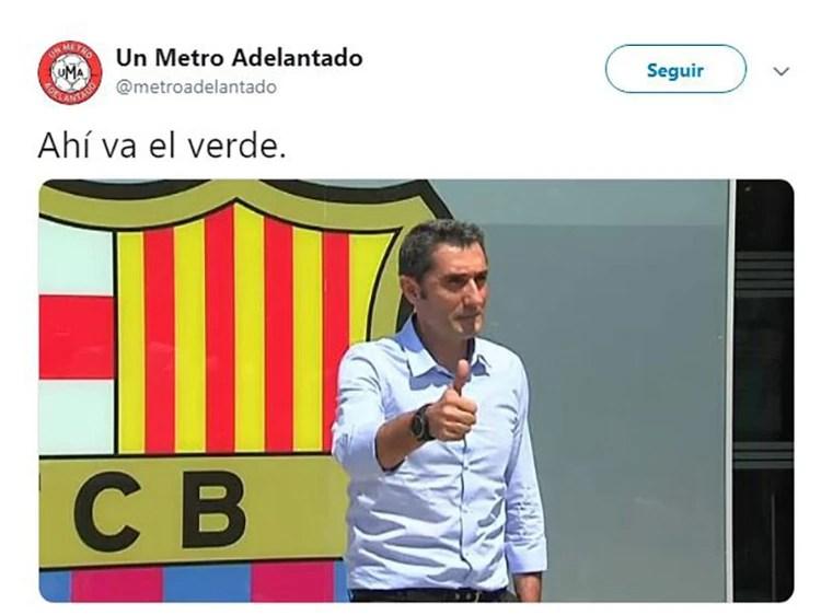"""""""Ahí va el verde"""", en clara alusión al DT del Barcelona Ernesto Valverde"""
