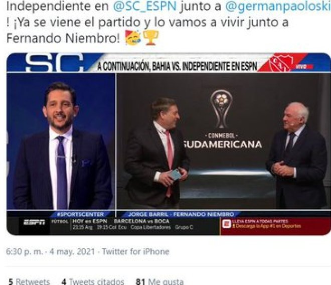 The welcome that the rapporteur Jorge Barril gave Fernando Niembro in the networks (Twitter capture)