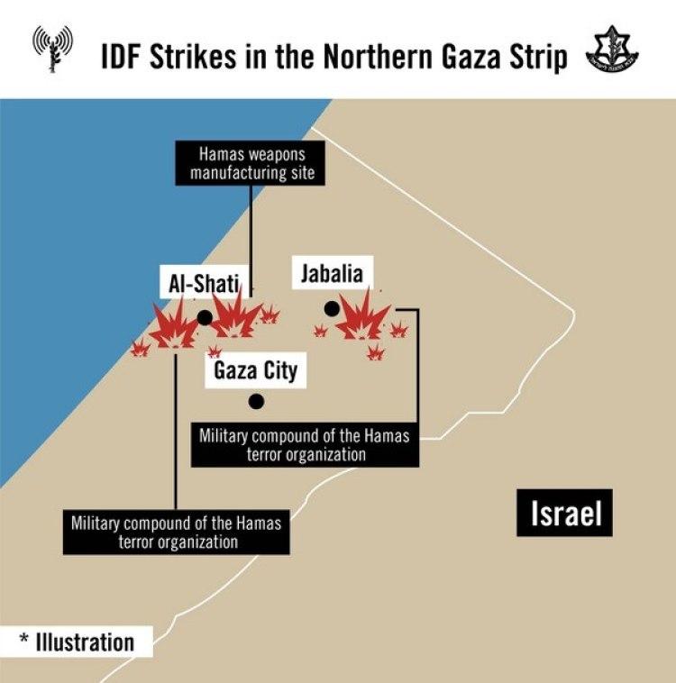 Los ataques se concentraron en un complejo militar y una fábrica de armas en Al Shati, y un segundo complejo militar en Jabalia, al norte de Gaza