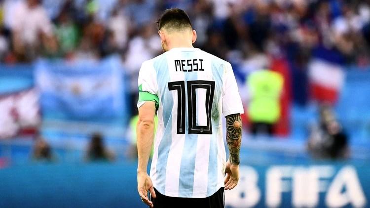 (Lionel Messi durante la eliminación de Argentina en el Mundial)
