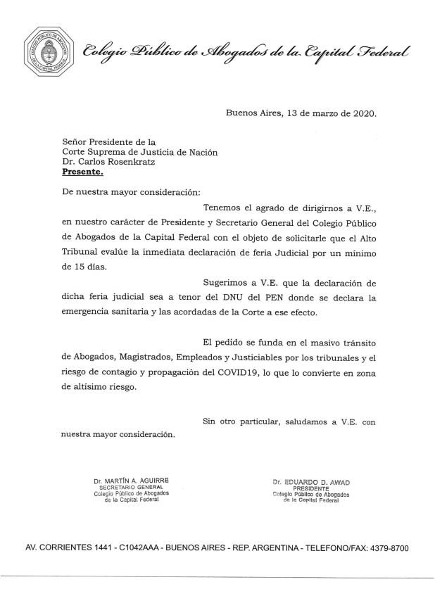 Nota del Colegio Público de Abogados de la Capital Federal solicitando la declaración de feria judicial para evitar el contagio del coronavirus en tribunales