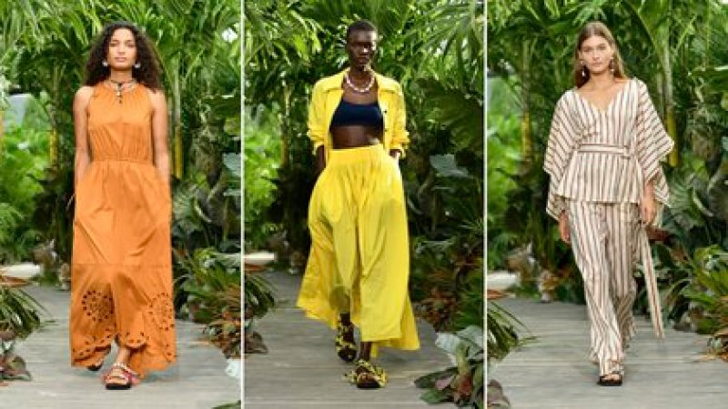 Earth colors, strident and stripes, some of the trends that Jason Wu presented at the opening of the NYFW calendar (AFP)