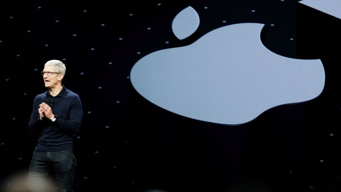 FILE PHOTO: Apple Chief Executive Officer Tim Cook speaks at the Apple Worldwide Developer conference (WWDC) in San Jose, California, U.S., June 4, 2018.   REUTERS/Elijah Nouvelage/File Photo