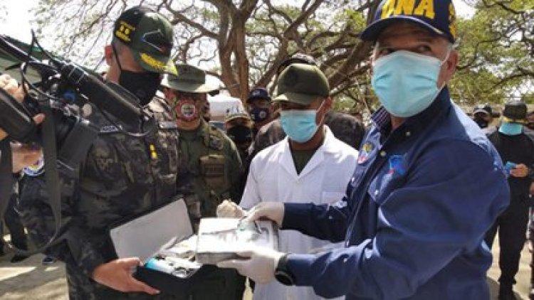 Richard López Vargas, jefe de la ONA, informando de la incautación de 192 kg de cocaína