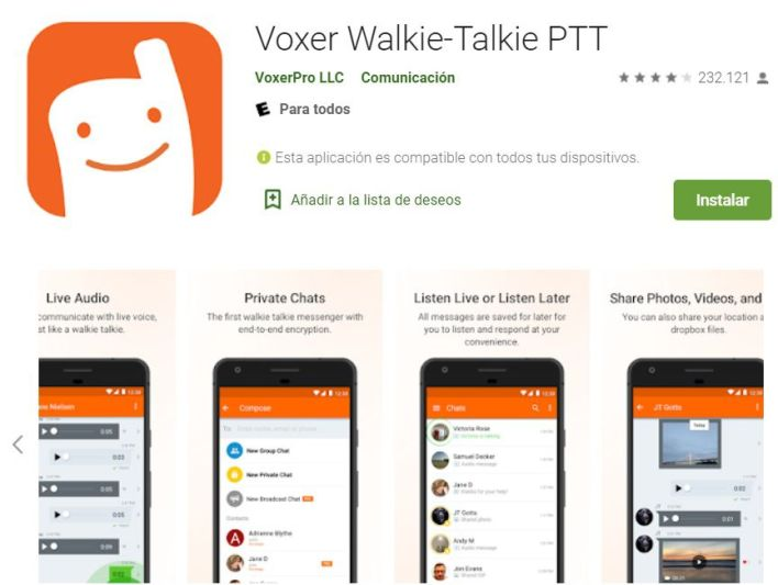 Voxer, app walkie talkie