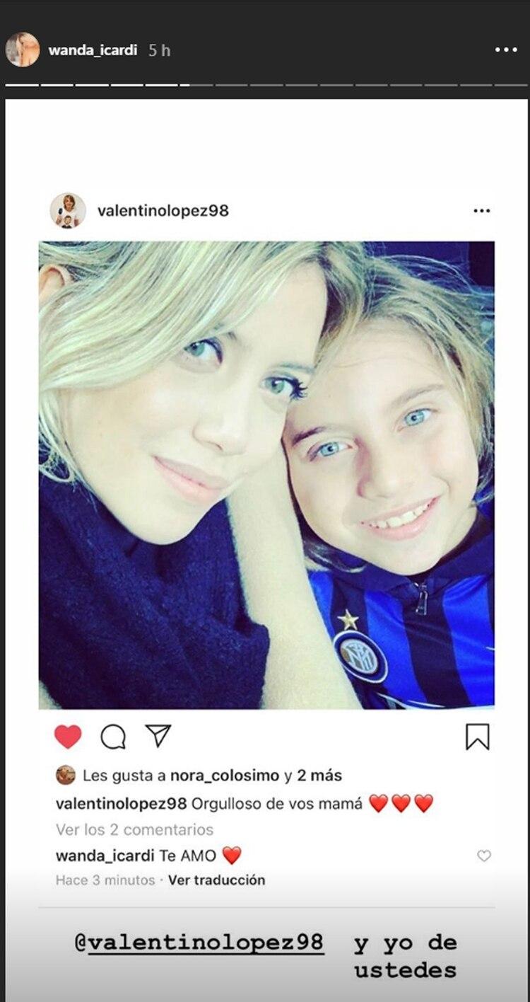 El posteo de Valentino López que Wanda Nara compartió (Jnstagram)