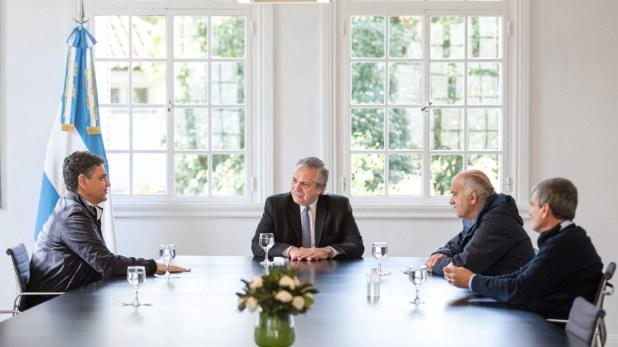 Alberto Fernández con  Juan Zabaleta, Néstor Grindetti y Jorge Macri