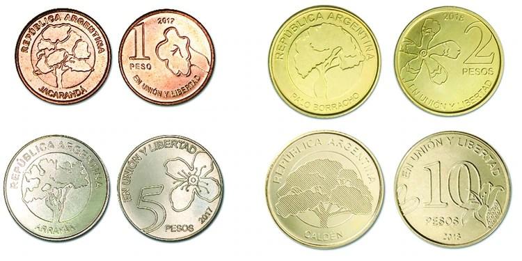 Abajo, a la izquierda la moneda que ya está en circulaición y reemplazará por completo a los billetes (BCRA)