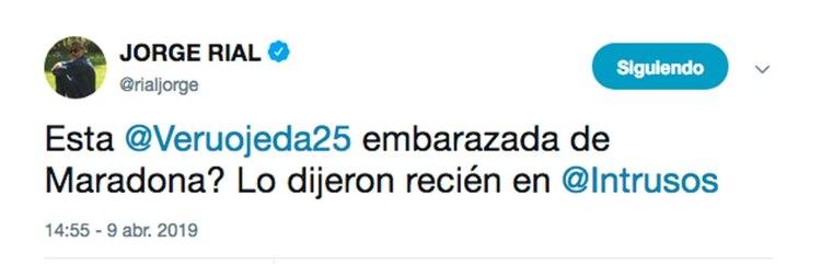 La publicación de Jorge Rial en Twitter.
