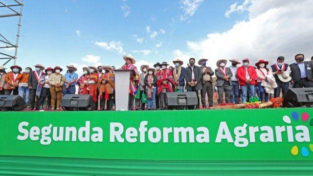 04-10-2021 El presidente de Perú, Pedro Castillo, durante el lanzamiento de la Segunda Reforma Agraria del país POLITICA  PRESIDENCIA DE PERÚ