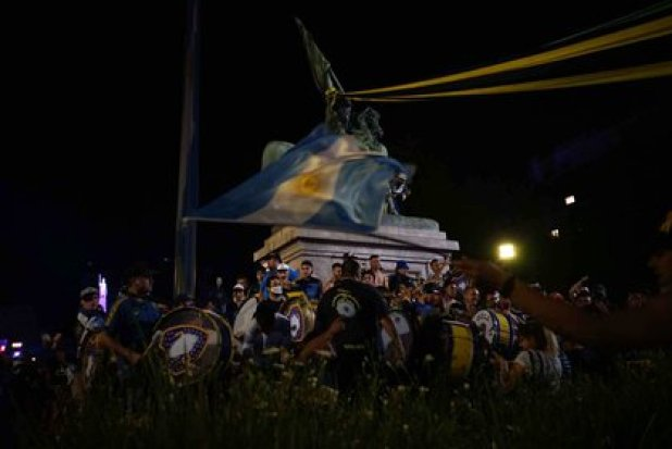 La barra brava de Boca estuvo en Plaza de Mayo (Foto: Julieta Bugacoff)