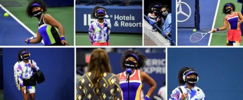La tenista Naomi Osaka lució mascarillas con los nombres de Breonna Taylor, Trayvon Martin, George Floyd, Philando Castile, Elijah McClain, Ahmaud Arbery y Tamir Rice durante el US Open (REUTERS)