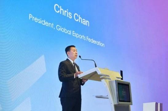 Chris Chan, presidente de Global Esports Federation en su lanzamiento global.