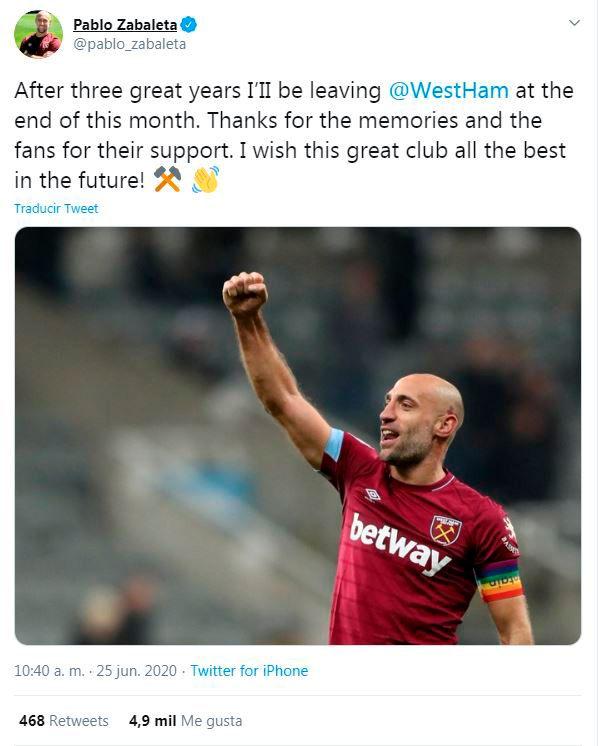 Despedida Pablo Zabaleta del West Ham