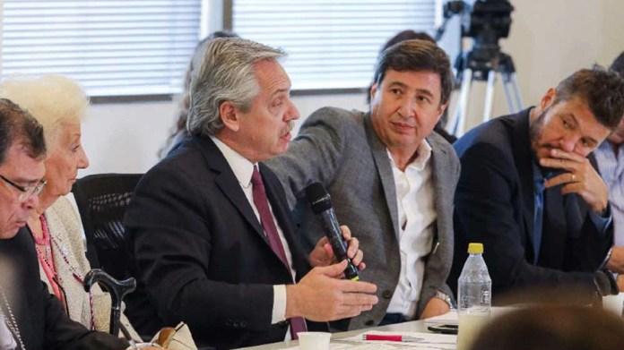 Alberto Fernández, Daniel Arroyo y Marcelo Tinelli - Mesa contra el hambre