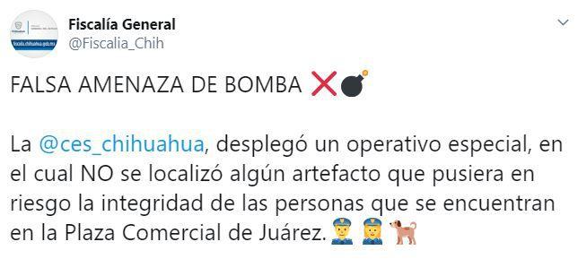La Fiscalía de Chihuahua descartó que algún artefacto explosivo pusiera en riesgo la integridad de las personas en Ciudad Juárez (Foto: Twitter/Fiscalia_Chih)