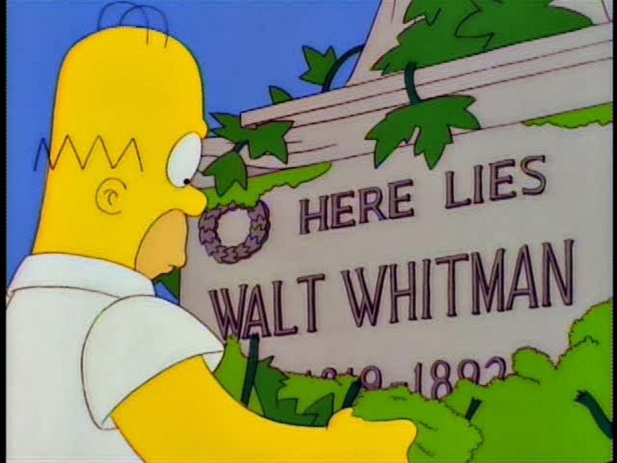 Homero Simpson frente a la tumba de Walt Whitman