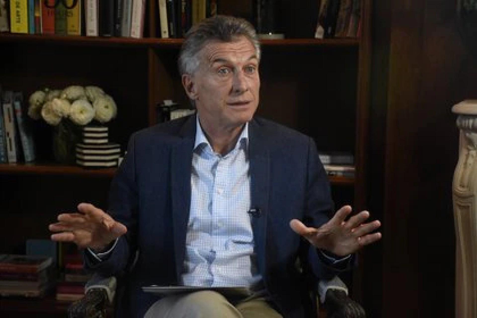 Mauricio Macri durante una entrevista con Infobae
