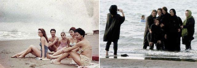 Mujeres iraníes en la playa, antes y después de la revolución